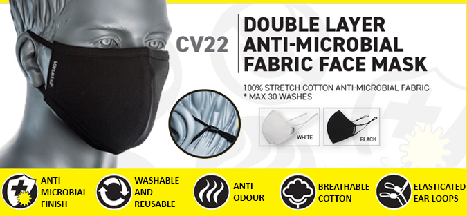 CV22 double layer anti-microbial fabric face mask adjustable 2ply cotton reusable washable