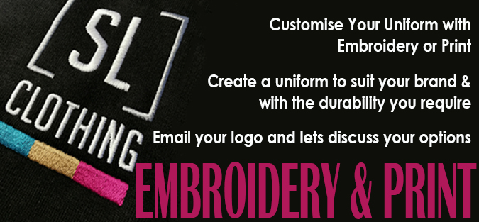 Embroidery print branded clothing customised workwear